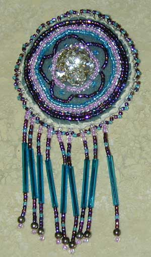 Native American Indian made beaded button cover