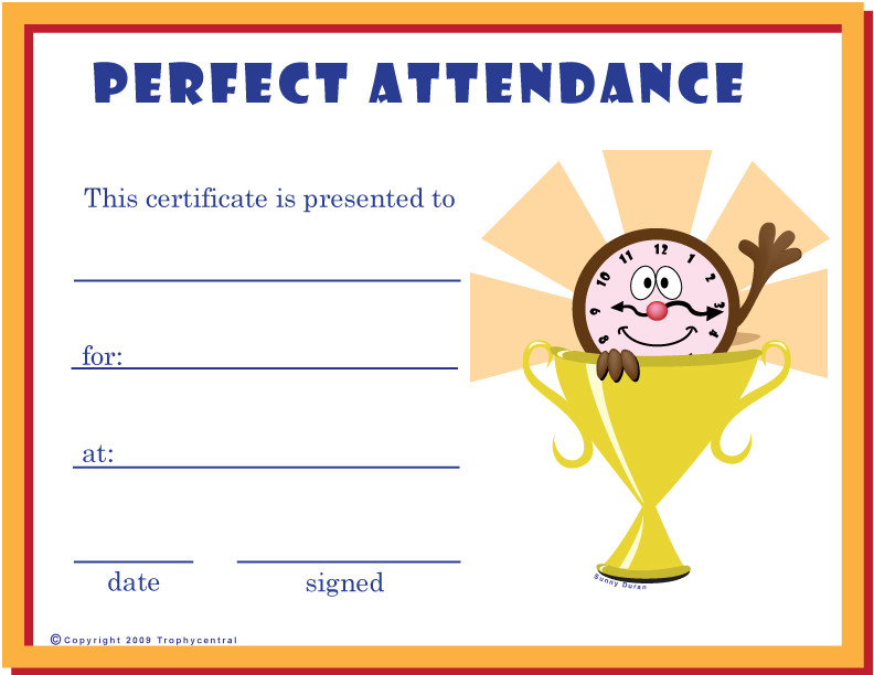 Free Perfect Attendance Certificates Certificate Pictures