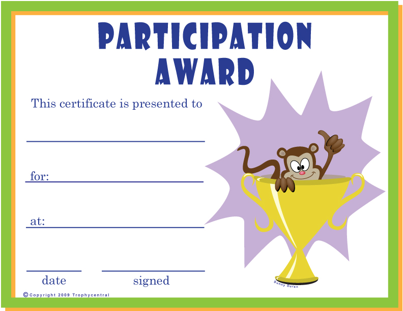 Free Printable Certificates Participation