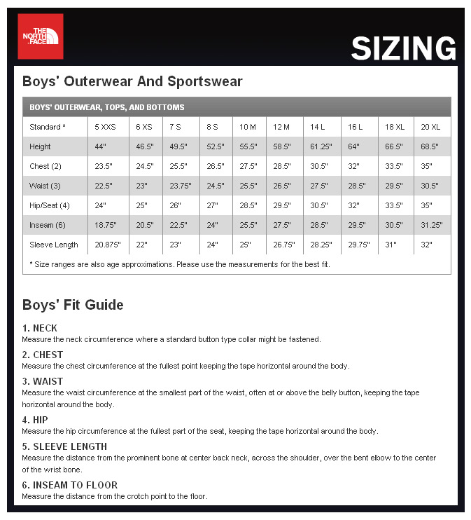 Puros de hostos north face youth small size chart
