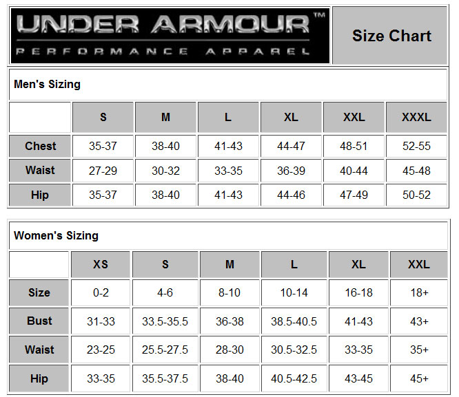 under armour sports bra sizing