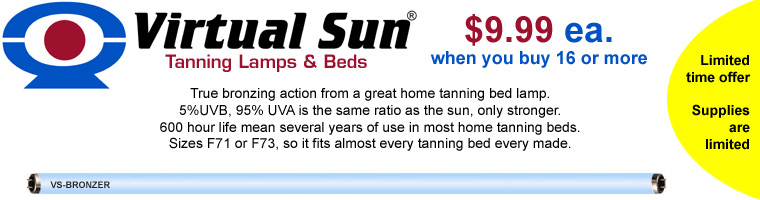 Virtual Sun tanning bed lamps and bulbs