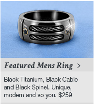 Featured Mens Black Titanium Cable & Black Spinel Ring by Edward Mirell at Titanium Jewelry