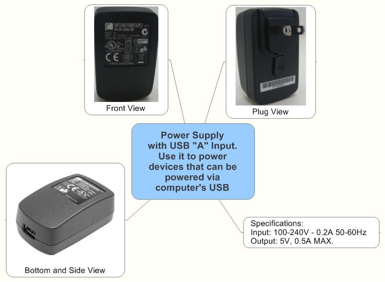 "Power Supply with USB ""A"" Input. Use it to power devices that can be powered via computer's USB"