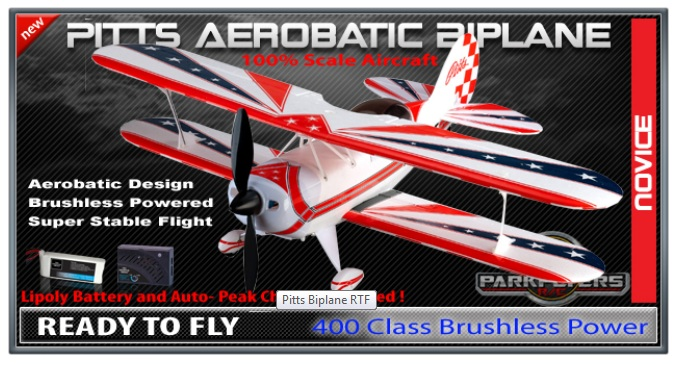Parkflyers RC Pitts Biplane RTF