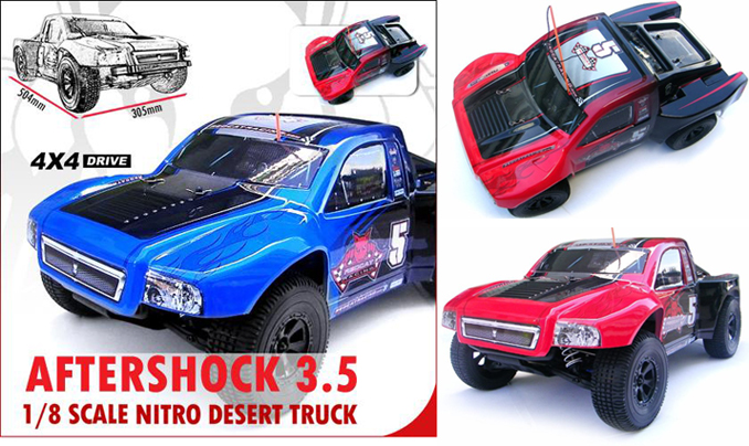 Aftershock 3.5 red and blue remote controlled monster trucks