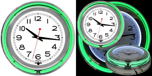 cool neon green wall clock