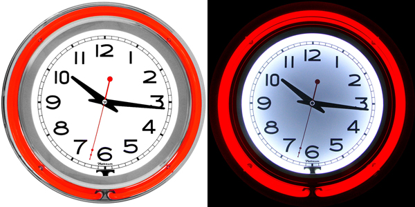 cool neon red bar apartment wall clock