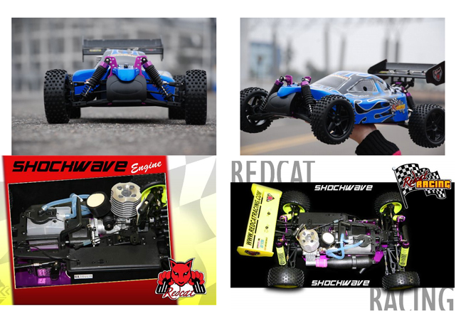 remote controlled Nitro Buggy Shockwave Red cat Racing 1/10 scale