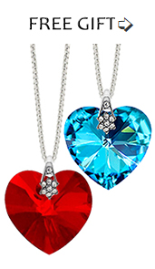 FREE GIFT heart pendant 30 mm siam red or aqua blue with 18