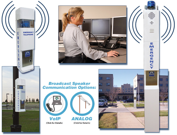 Wide Area Broadcast Speakers and Notification System for Emergency Tower Phones and Call Stations