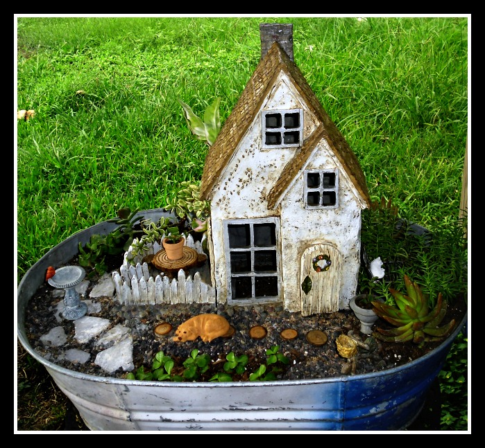 Miniature Garden Village - Rural Scene Planted in a Metal Washtub