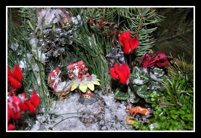 A Fairy Garden Transformed by Snow