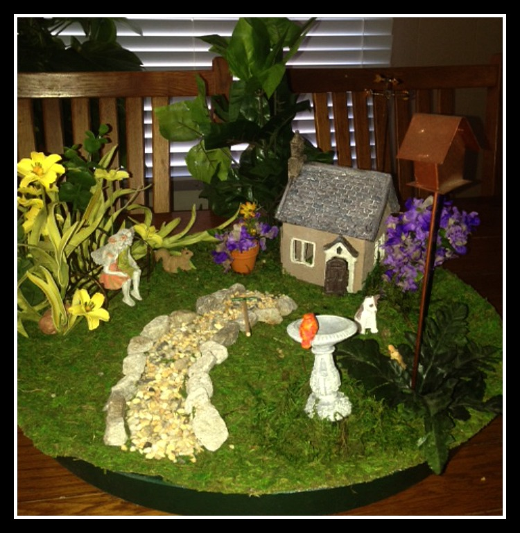 Charming Dish Fairy Garden Creation with Moss and Artificial Plants