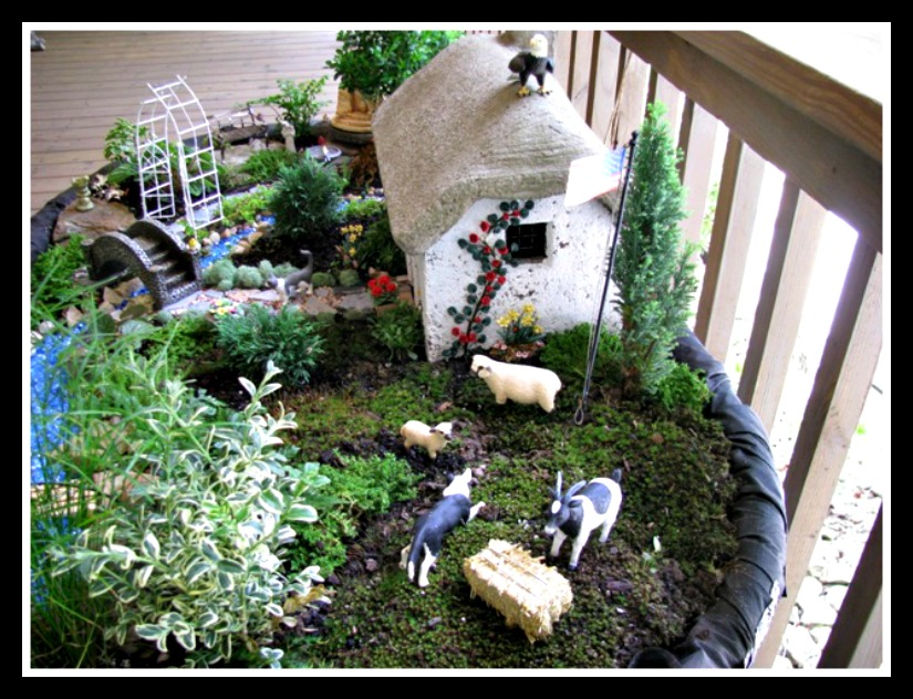 Overhead View of Excellent Miniature Garden Design with Farmland Theme