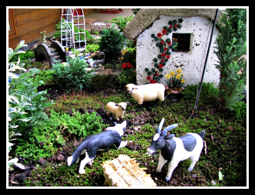Sheep and Donkey Detail in a Rural Miniature Fairy Garden