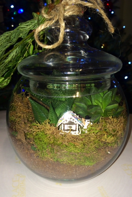 Tiny Gingerbread House In Terrarium With Perfectly Proportioned Succulents