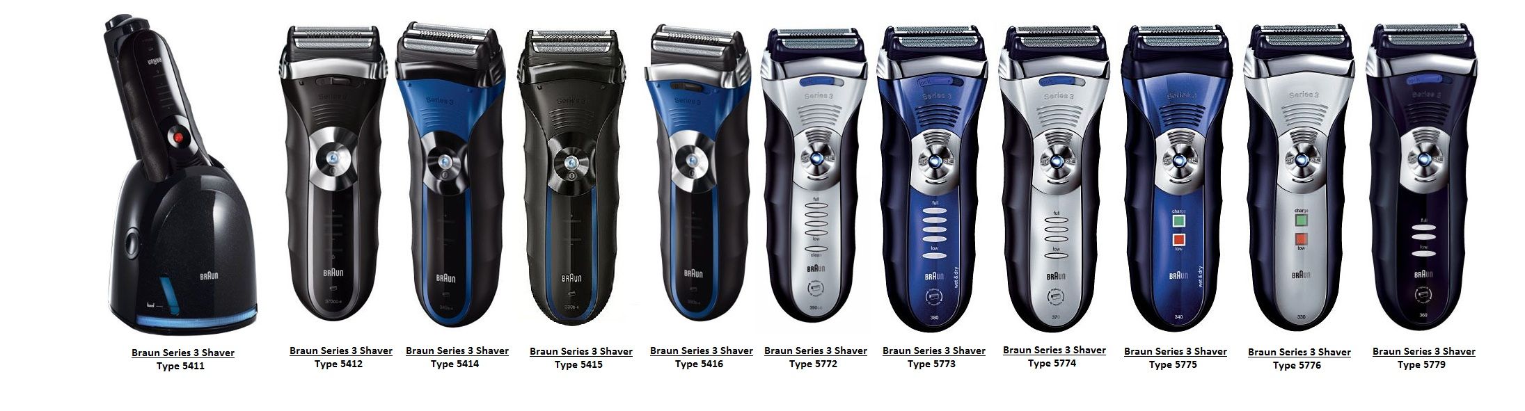 Braun Series 3 electric shaver type  5773, 5774, 5775, 5776, 5779 and 5784
