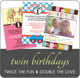 Birthday Invitations for Twins by Amy's Card Creations