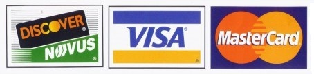 Visa, Master Card, Discover Accepted