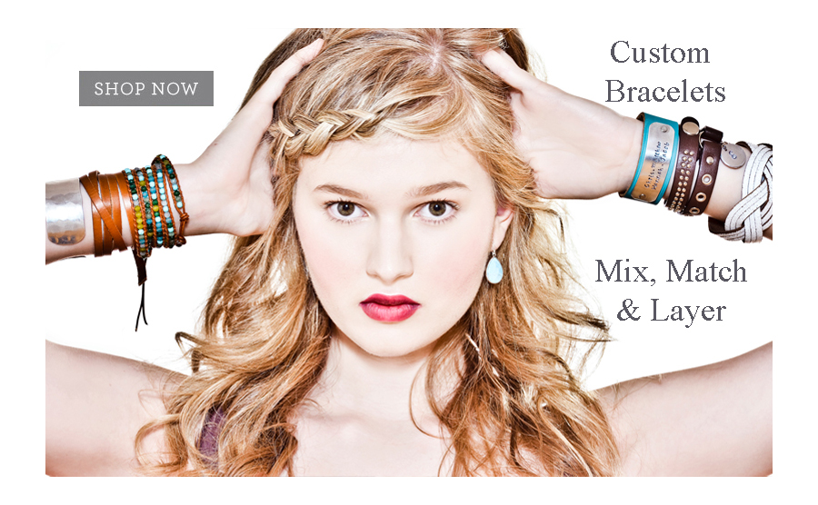 Personalized Hand Stamped Leather Cuffs and Silver Custom Bracelets. Great for layering from String Of Jewels
