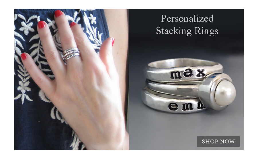 Personalized sterling silver stacking rings from string of jewels.