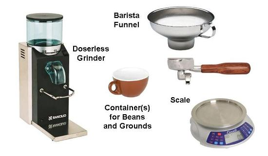 Things You'll Need to Measure a Shot's-Worth of Beans, and to put the Ground Coffee into the Portafiler without Making a Mess