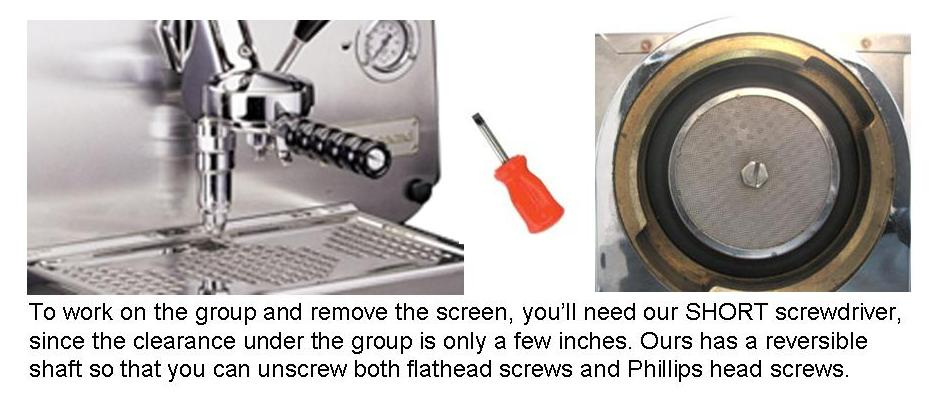 Up Inside the Brew Group: A Screwdriver and the Filter Screen