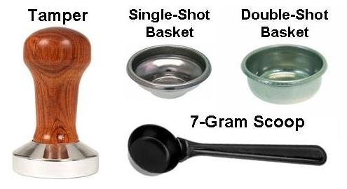 A Tamper, a 7-Gram Scoop, and a Single and Double Filter Basket