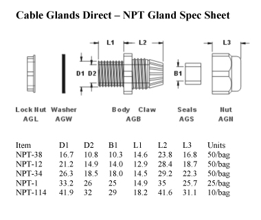 Npt 38 Cable Gland