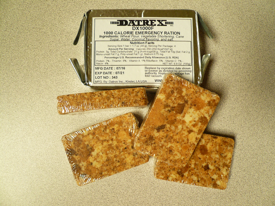 Datrex 1000 calorie emergency food bar for Food bar manufacturers