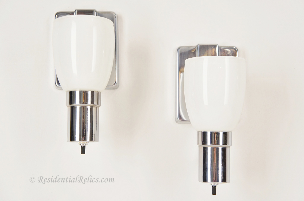 Chrome Wall Sconces Bathroom : PAIR vintage chrome bath sconces with white glass shades, circa 1950s