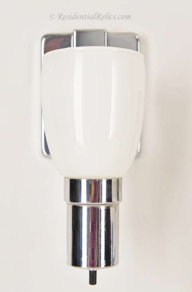 Pair Vintage Chrome Bath Sconces With White Glass Shades Circa 1950s