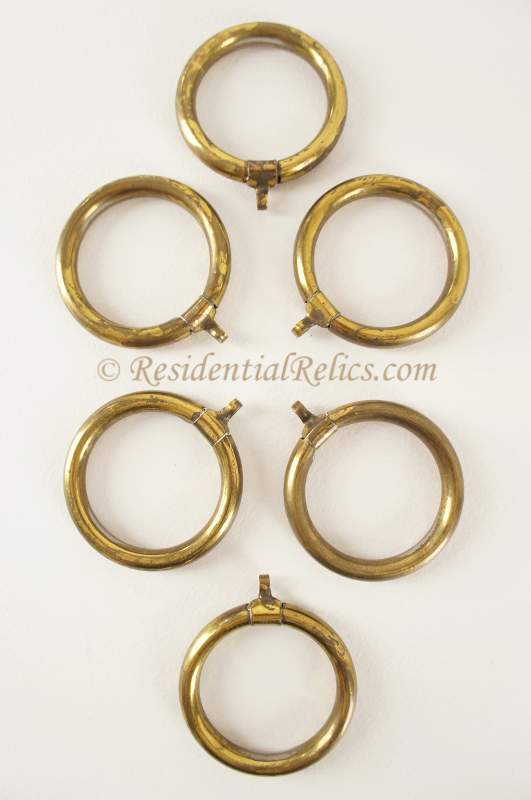 Curtains Ideas curtain rings brass : SET of 6 antique gilt brass curtain rings, circa 1900s