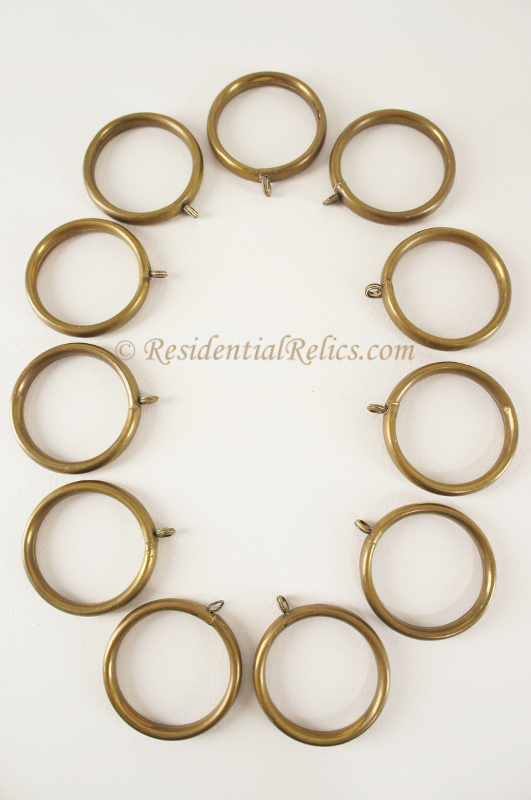 Curtains Ideas curtain rings brass : SET of 10 Antique Brass Curtain Rings, circa 1900s