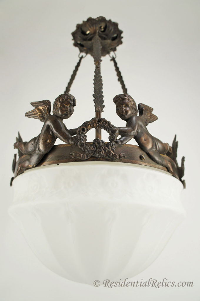 ... - This ... - Antique Cast Brass Cherub Chandelier With Inverted Glass Dome, Circa