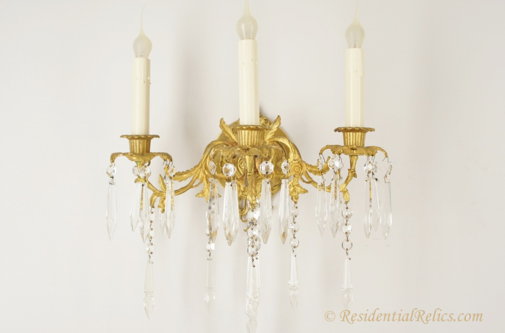 Pair of antique gilt cast brass and crystal 3-candle wall sconces, circa 1890s