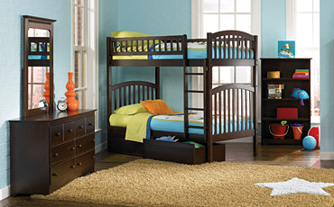 Dark Wood Kids Bunk Beds Free Shipping