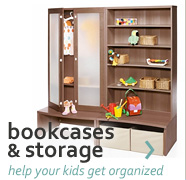 help your kids get organized with bookcases & storage