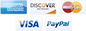 We accept American Express, Discover, MasterCard, Visa, and PayPal