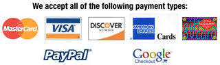 We accept Visa MC AMX Discover PayPal