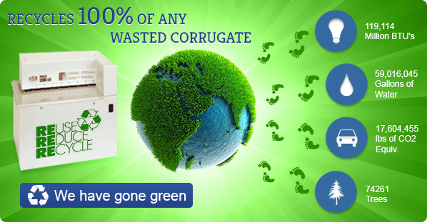 Recycles 100% of any wasted corrugate