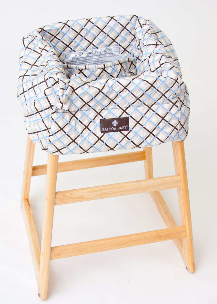 balboa baby shopping cart cover  blue plaid - extra wide safety strap comfortably keeps baby secure while attaching coverto shopping cart or high chair