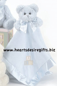 Bearington Baby Bear Hugs Blue Blanket
