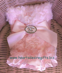 Bearington Baby Pink Swirly Blankie with Ruffled Edge