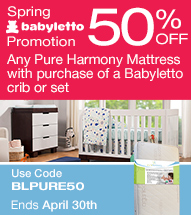 50% off any Pure Harmony Mattress with purchase of a Babyletto crib or set