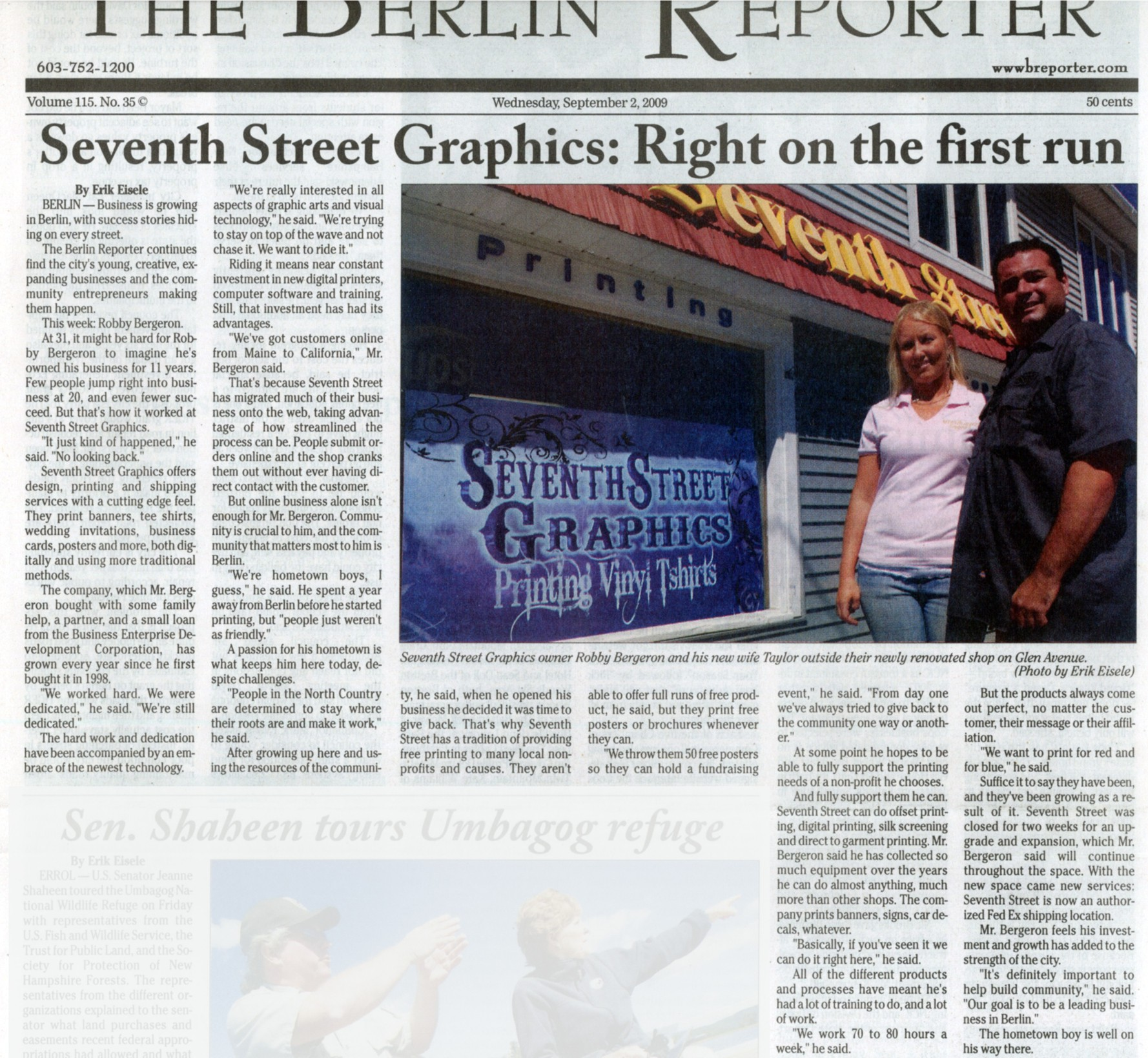 Seventh Street Graphics in the Berlin Reporter Article Dated September, 2, 2009. Click to enlarge.