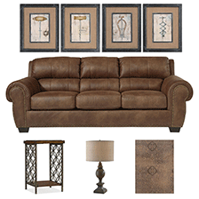 Designer Select Industrial Vintage Living Room Suite