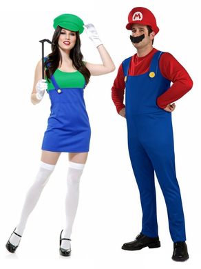 80s mario and luigi couple costumes