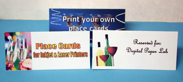 Use your inkjet or laser printer with printable place cards & table tents